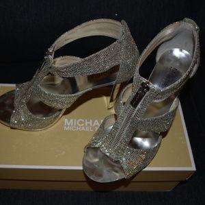 Michael Kors Shoes - Michael Kors Silver Glitter Heels